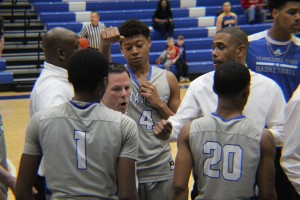 GHC Head Basketball coach Phil Gaffney giving a game plan to the GHC Chargers. Photo by Caite Sullivan