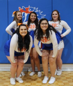 Cheerleaders support GHC Chargers during the Jan. 23 game against East Georgia Bobcats: (top row from left) Kristen Hatfield, Jazlynn Mercer and Madison Bartlett; (bottom row from left) Hannah Moody and Hannah Maxwell. Photo by Catie Sullivan