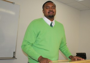 Rontavious Coley speaks at a Brother 2 Brother meeting. Photo by Catie Sullivan