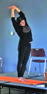 Libby Gore  teaches yoga on the Floyd campus on Tuesdays. Photo by Kayley Agan