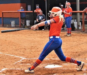Sydney Mcdonald swings against South Georgia State. Photo by Sarah Belcher