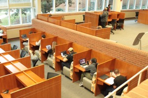 Photo by Noah Prince Students work in the Marietta campus library.
