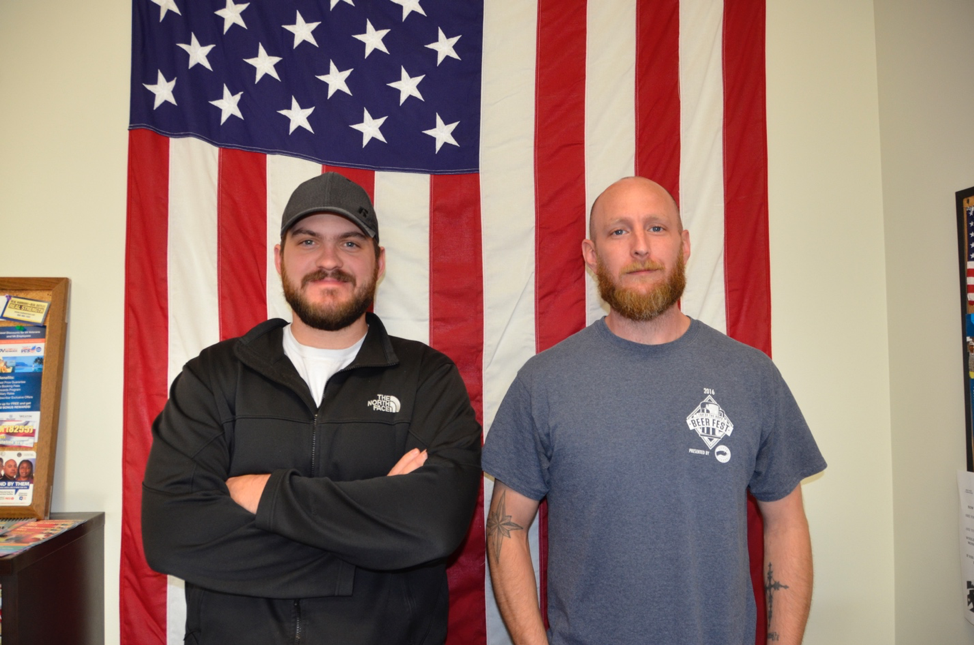 Melvin Irvin (left) and Christopher Farrell (right) both served in the U.S. military and are now students at GHC Photo by Nathaniel Flahardy