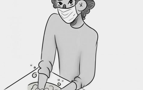 Washing hands can reduce the spread of viruses like COVID-19. Art by Julia Belew