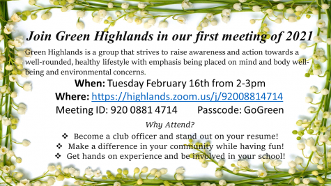 Join Green Highlands in their first meeting of the year.