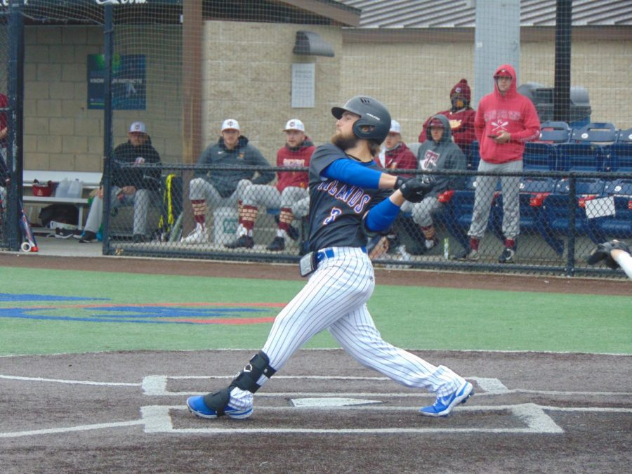 Palmer Sapp bats against the Triton College Trojans at Lake Point Center in Emerson, GA in the March 2 game.