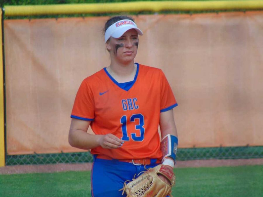 Izzy Marcotte looks to make a play in a game against Gordon State College on April 7, at Stars Field in Cartersville, GA.