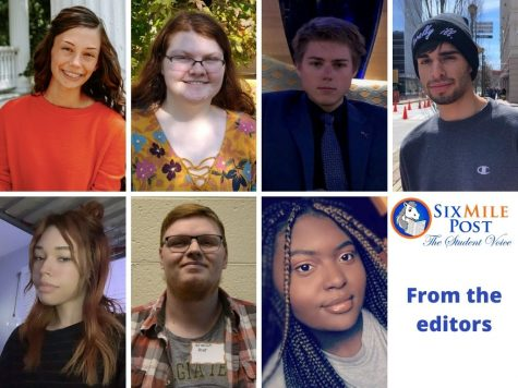 The Six Mile Post editors share their reflections about working remotely this year. Pictured top left to right is Olivia Fortner, Russell Chesnut, Jackson Morris and Joshua Mata. On bottom from left to right, see Mariah Redmond, Brandon Dyer and Alexis Johnson.