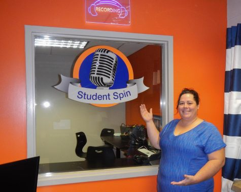 Kimberly Lyons, Senior Producer at Student Spin, shows off the dedicated recording studio located in the Media Innovation Center at the Floyd campus.